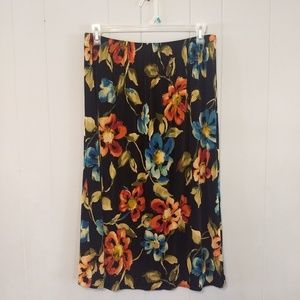 Alfred Dunner black floral maxi skirt